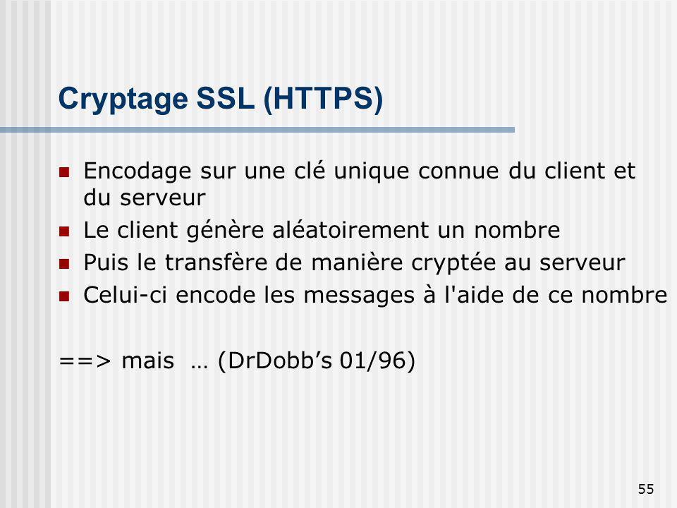 Cryptage SSL (HTTPS) Encodage sur une clé unique connue du client et du serveur. Le client génère aléatoirement un nombre.