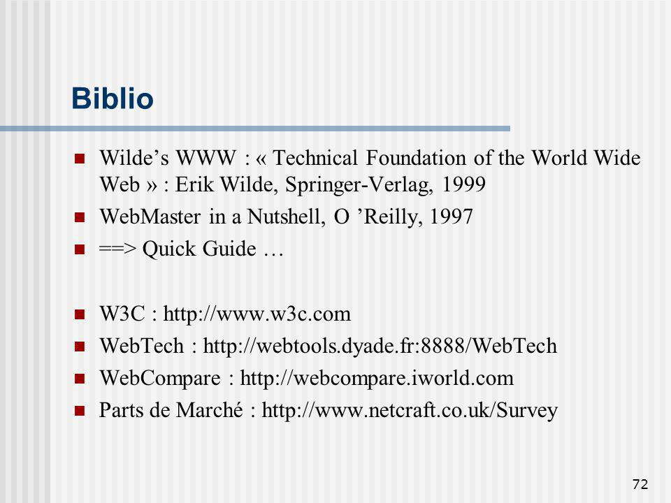 Biblio Wilde's WWW : « Technical Foundation of the World Wide Web » : Erik Wilde, Springer-Verlag, 1999.