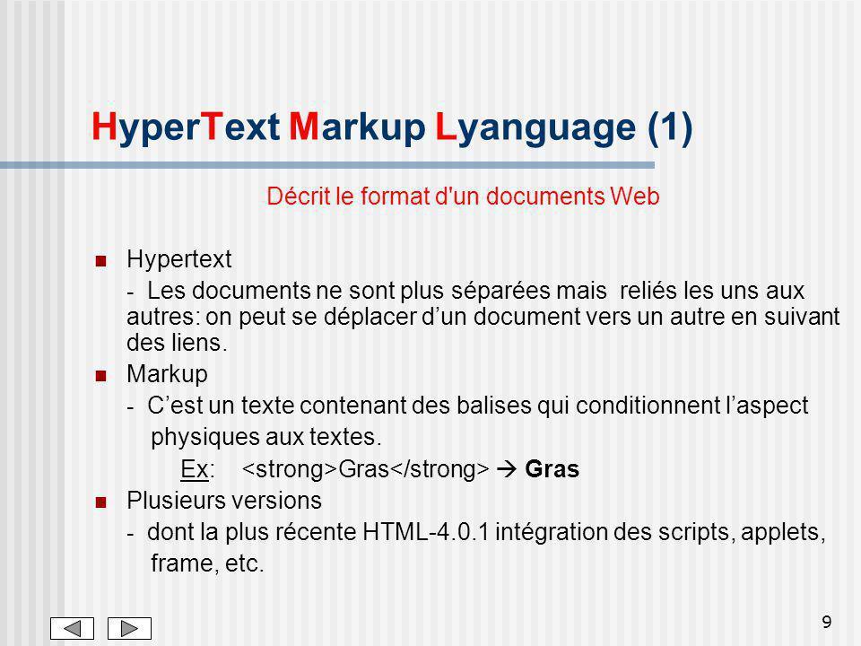 HyperText Markup Lyanguage (1)