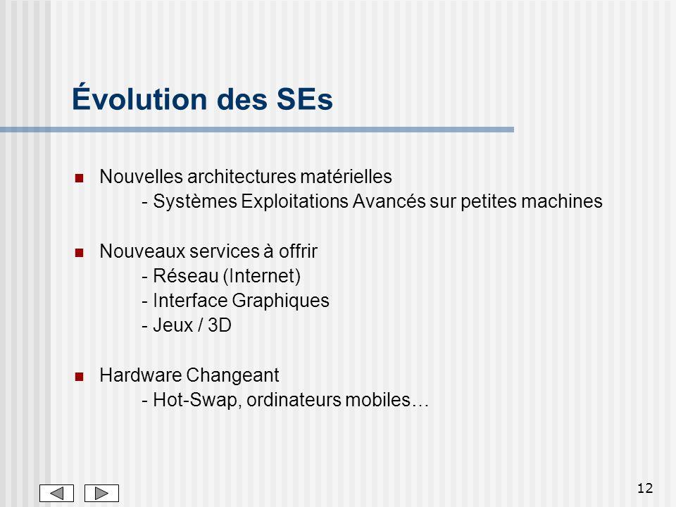 Évolution des SEs Nouvelles architectures matérielles