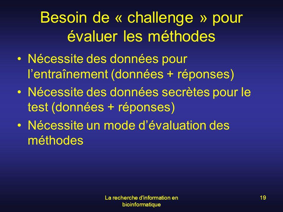 Besoin de « challenge » pour évaluer les méthodes