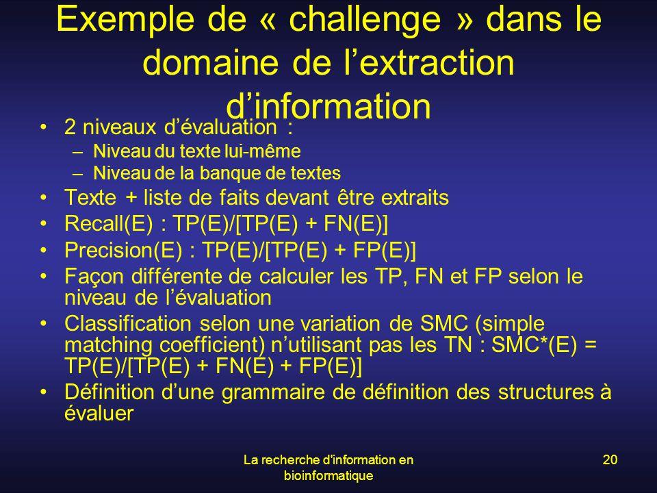 Exemple de « challenge » dans le domaine de l'extraction d'information