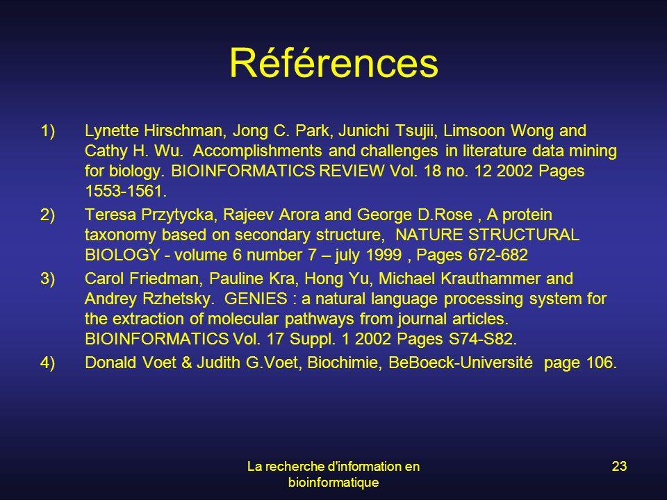 La recherche d information en bioinformatique