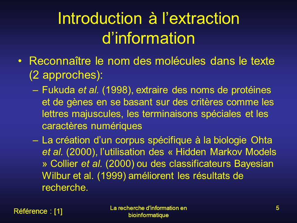 Introduction à l'extraction d'information