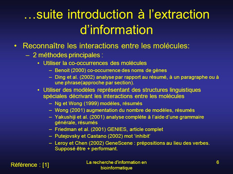 …suite introduction à l'extraction d'information