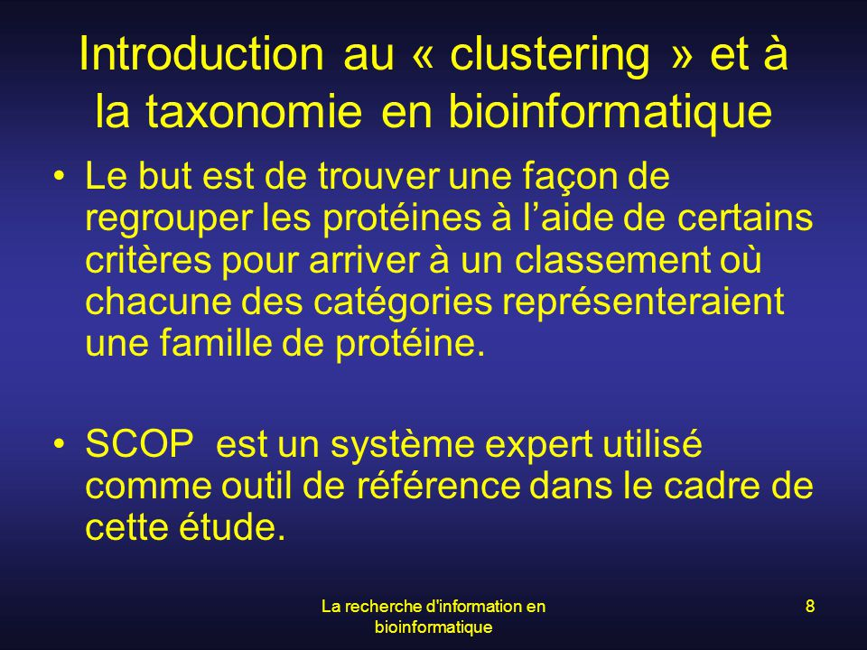 Introduction au « clustering » et à la taxonomie en bioinformatique