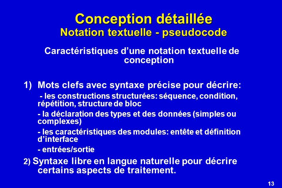 Conception détaillée Notation textuelle - pseudocode