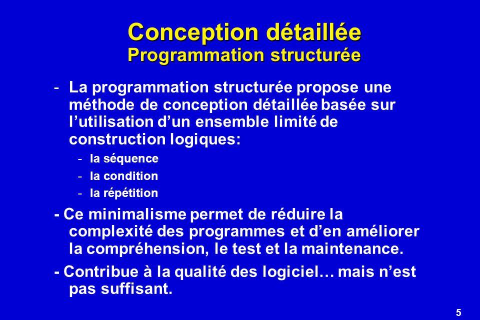 Conception détaillée Programmation structurée