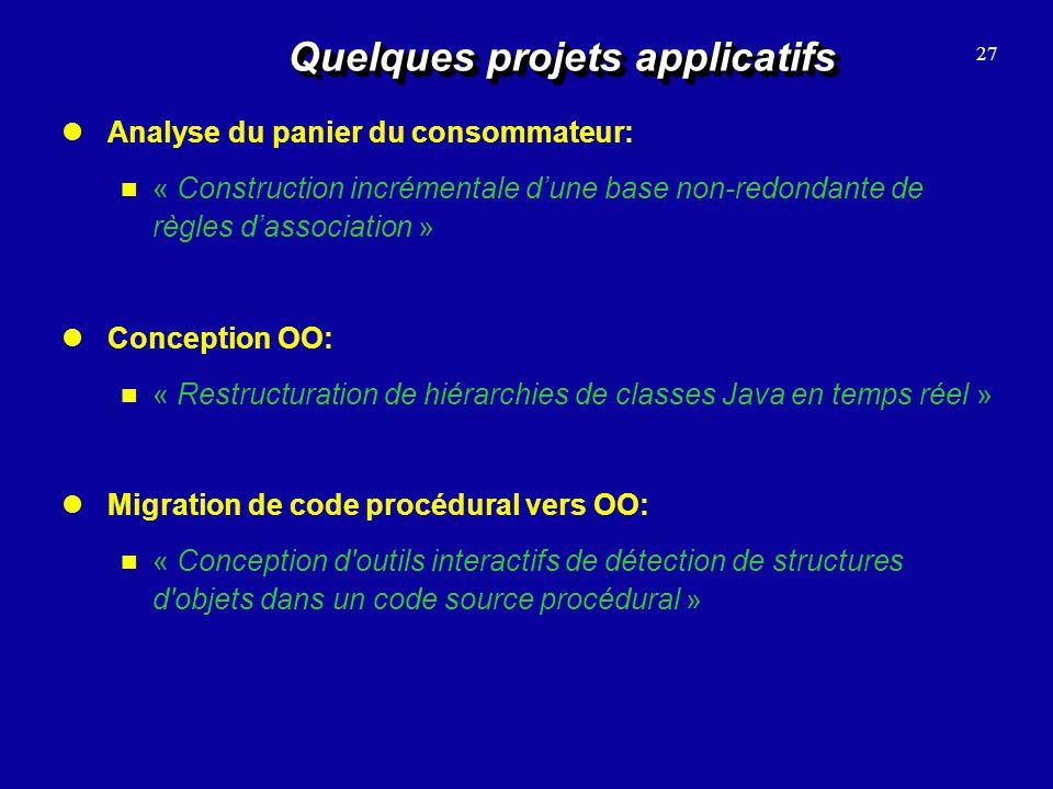 Quelques projets applicatifs