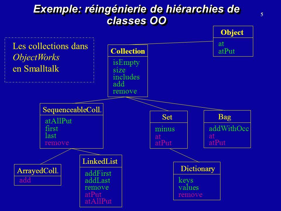 Exemple: réingénierie de hiérarchies de classes OO
