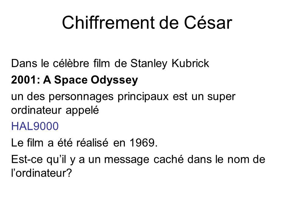 Chiffrement de César Dans le célèbre film de Stanley Kubrick