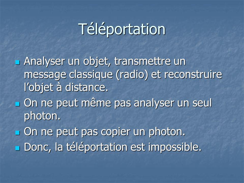 Téléportation Analyser un objet, transmettre un message classique (radio) et reconstruire l'objet à distance.