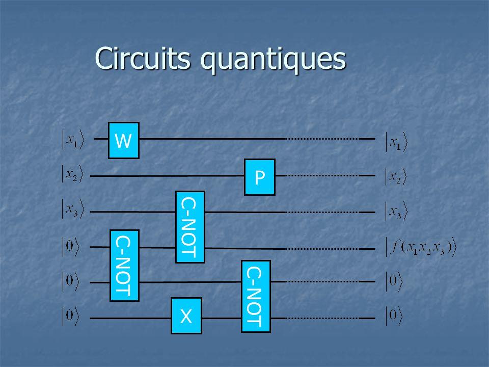 Circuits quantiques W P C-NOT C-NOT C-NOT X