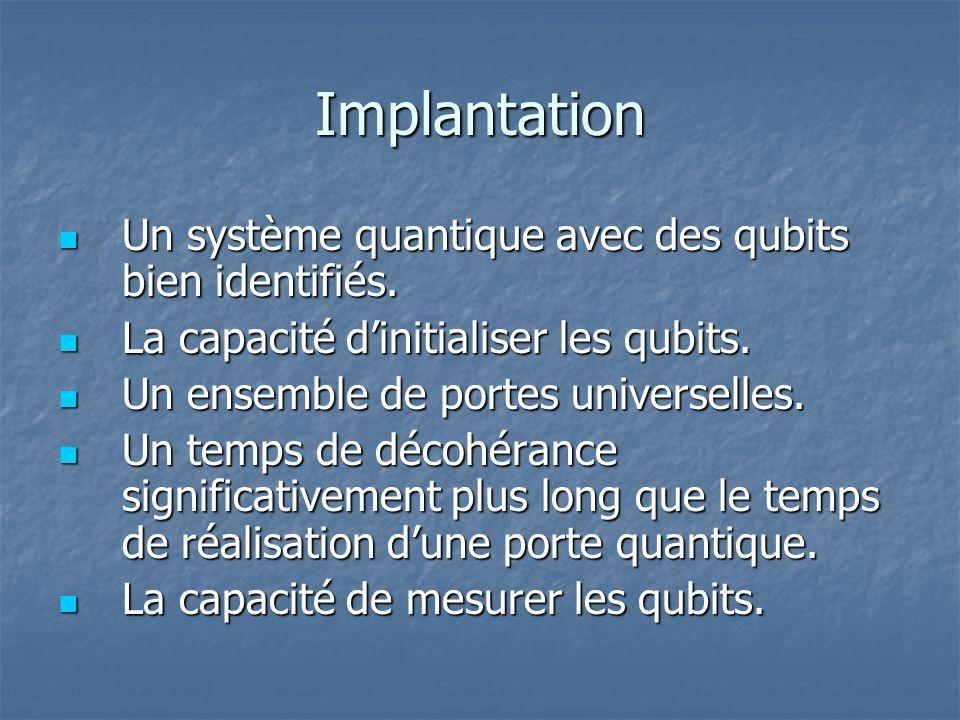 Implantation Un système quantique avec des qubits bien identifiés.