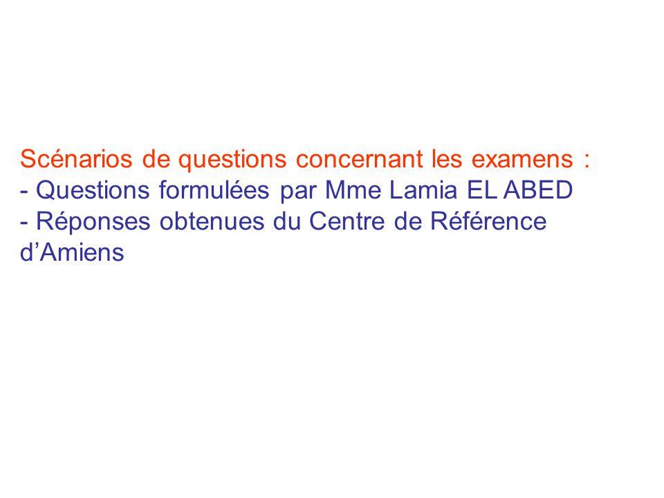 Scénarios de questions concernant les examens :