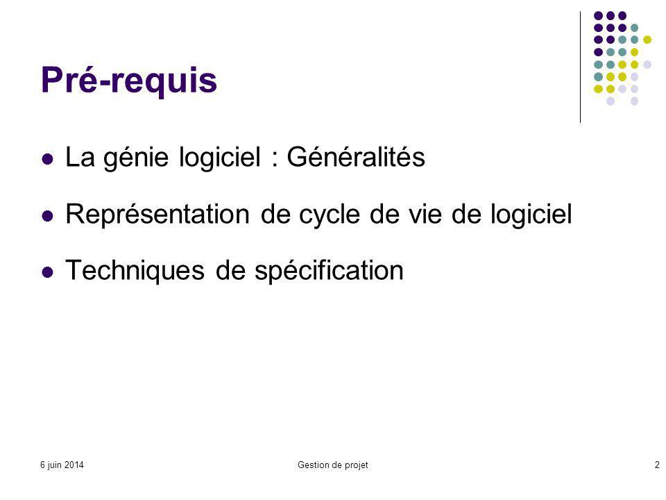 Pré-requis La génie logiciel : Généralités
