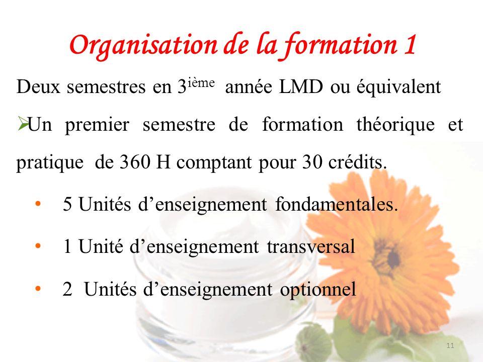 Organisation de la formation 1
