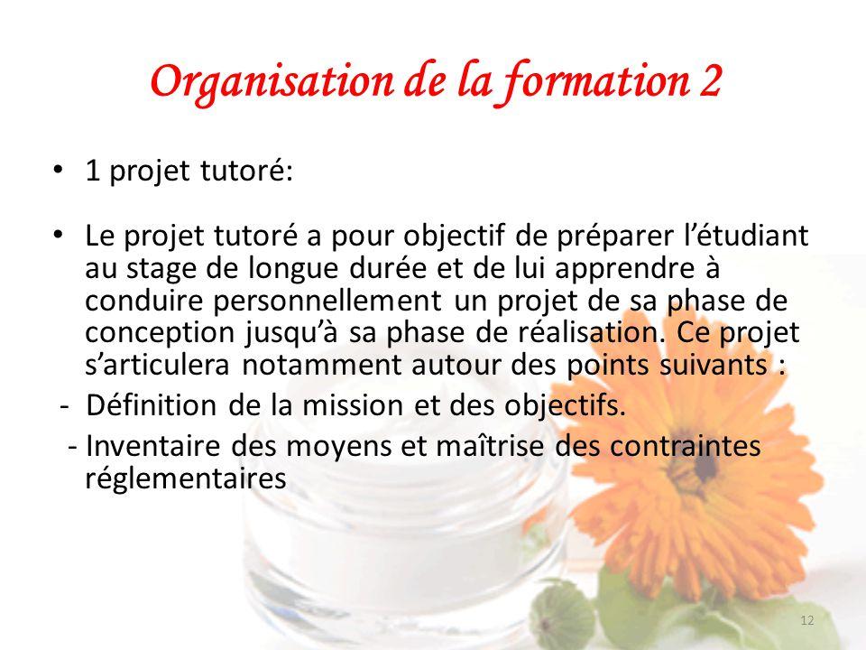 Organisation de la formation 2