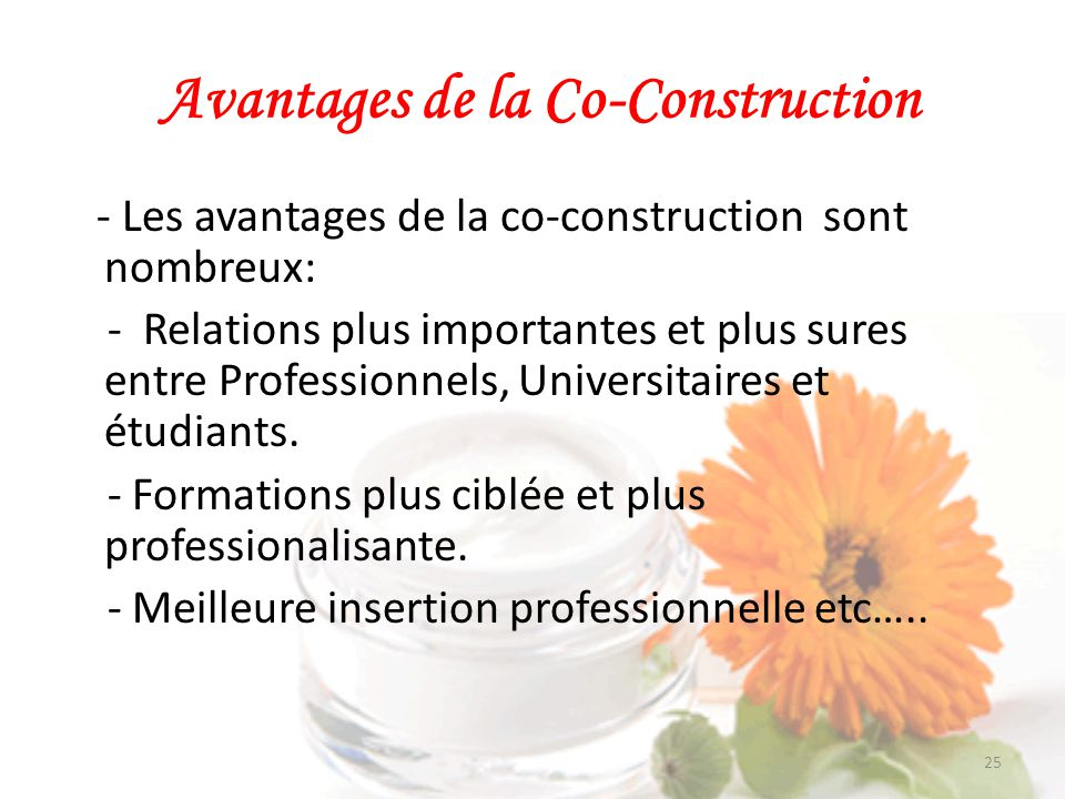 Avantages de la Co-Construction
