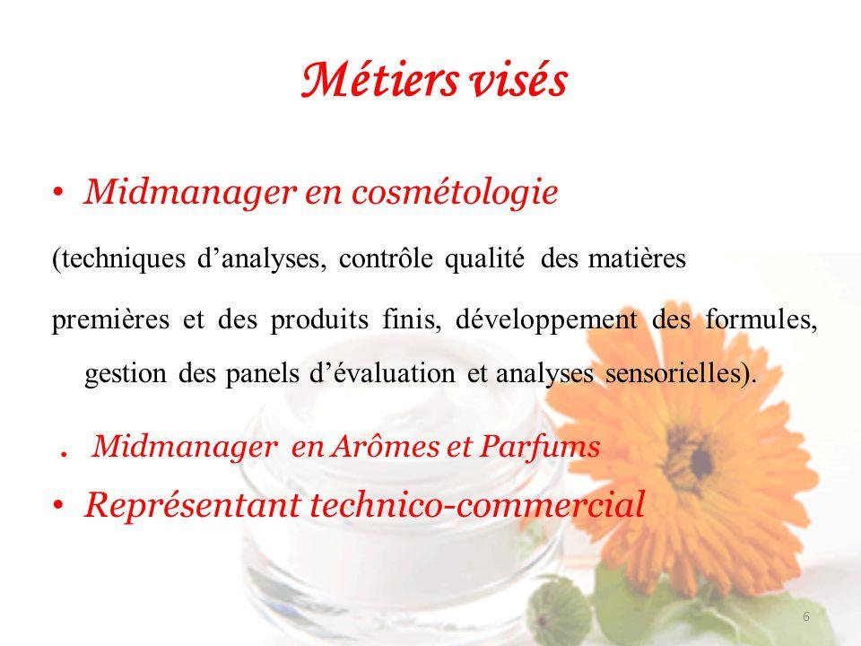 Métiers visés Midmanager en cosmétologie