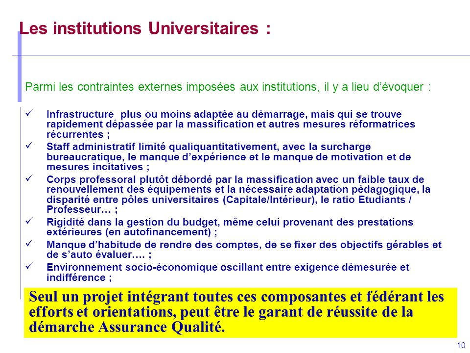Les institutions Universitaires :