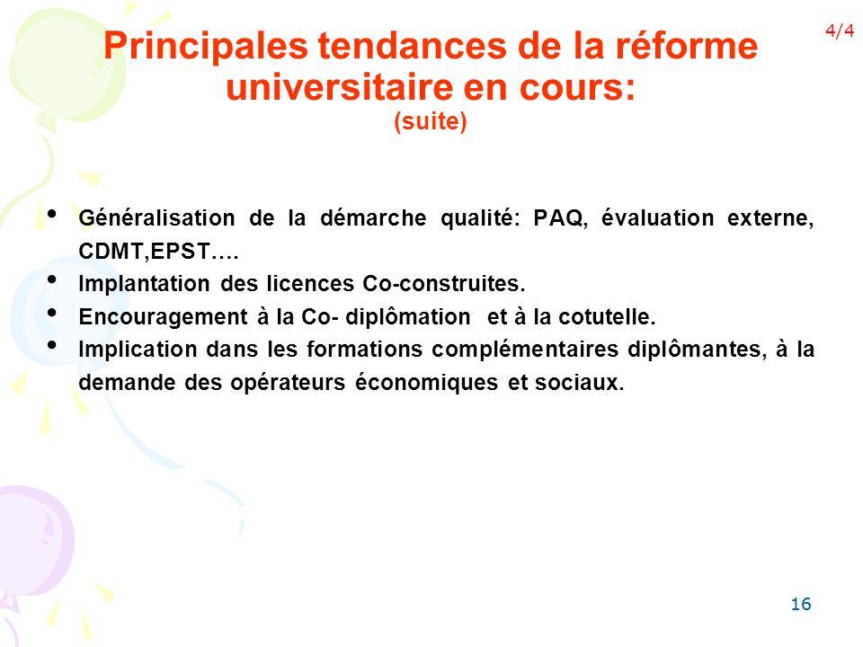 Principales tendances de la réforme universitaire en cours: (suite)