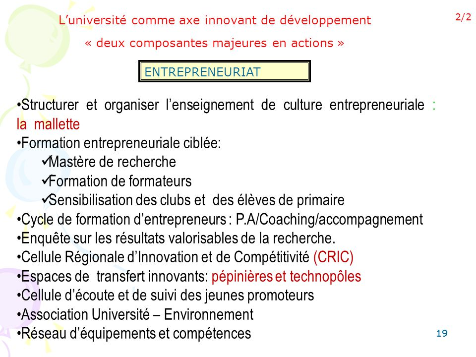 Formation entrepreneuriale ciblée: Mastère de recherche