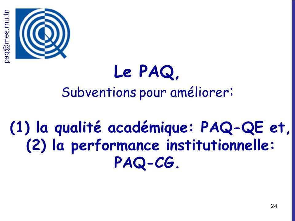 paq@mes.rnu.tn Le PAQ, Subventions pour améliorer: (1) la qualité académique: PAQ-QE et, (2) la performance institutionnelle: PAQ-CG.