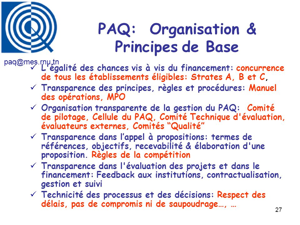 PAQ: Organisation & Principes de Base