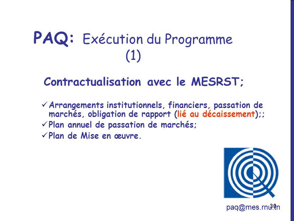 PAQ: Exécution du Programme (1)