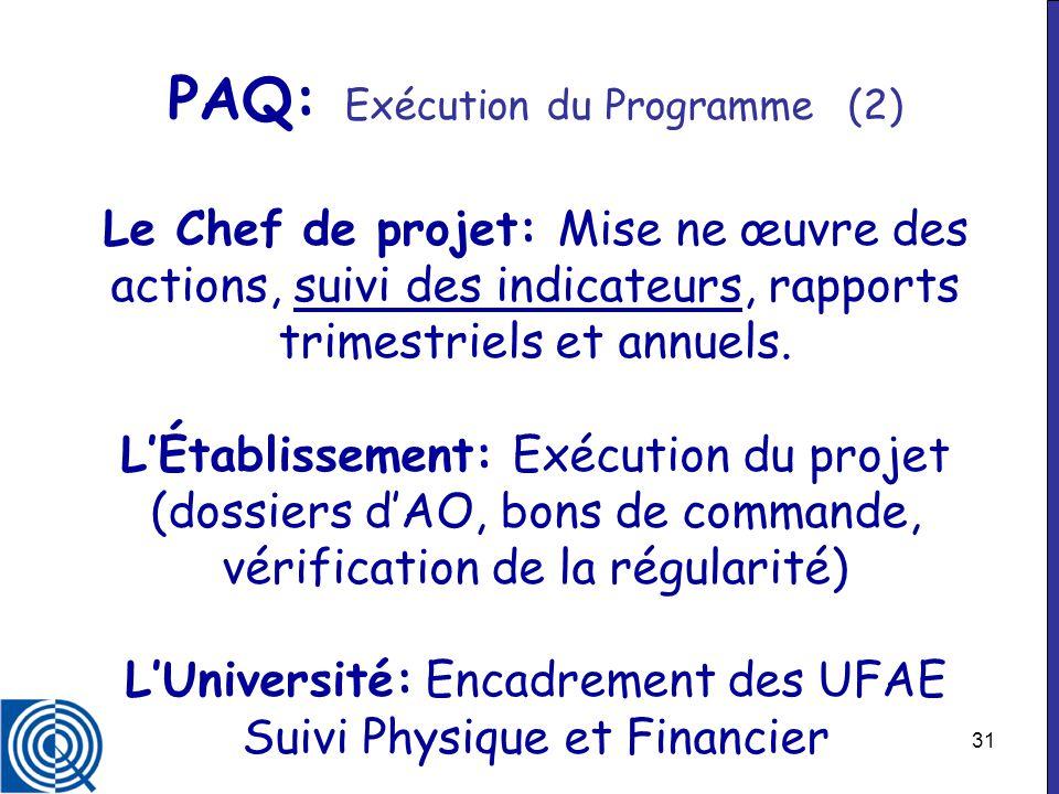 PAQ: Exécution du Programme (2) Le Chef de projet: Mise ne œuvre des actions, suivi des indicateurs, rapports trimestriels et annuels.