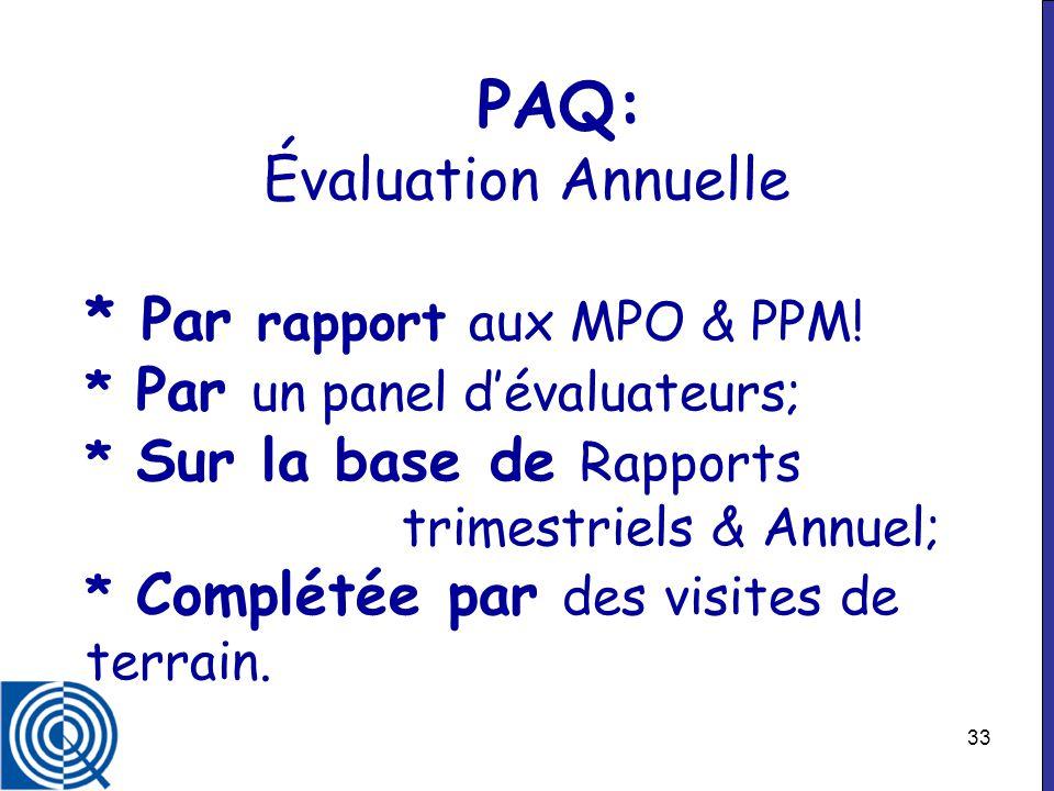 PAQ: Évaluation Annuelle. Par rapport aux MPO & PPM