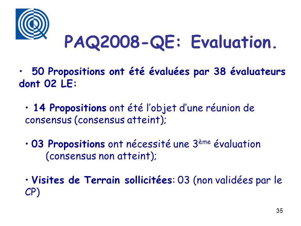 PAQ2008-QE: Evaluation. 50 Propositions ont été évaluées par 38 évaluateurs dont 02 LE: