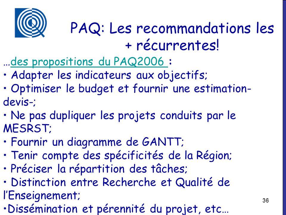 PAQ: Les recommandations les + récurrentes!