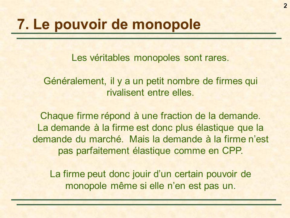 7. Le pouvoir de monopole Les véritables monopoles sont rares.