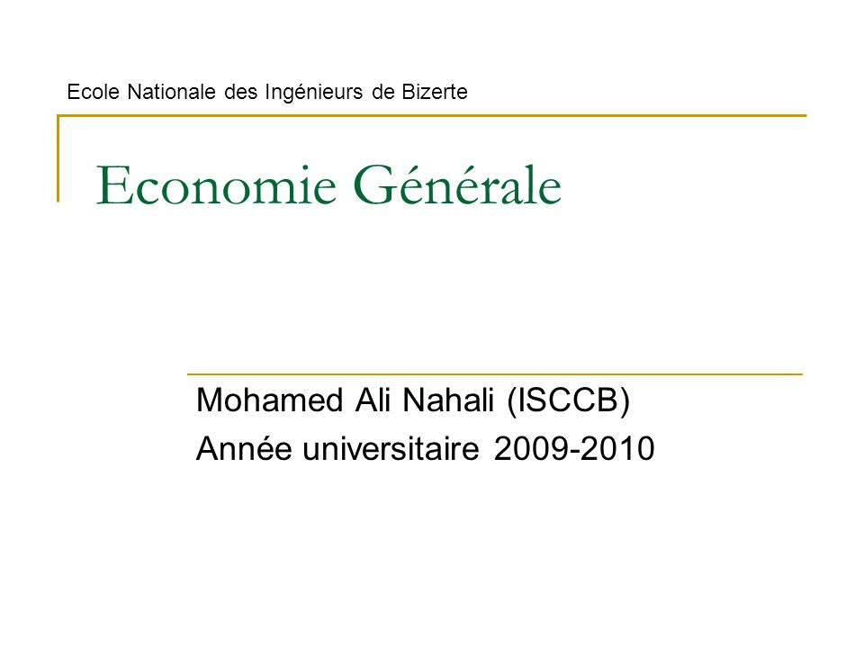 Mohamed Ali Nahali (ISCCB) Année universitaire 2009-2010