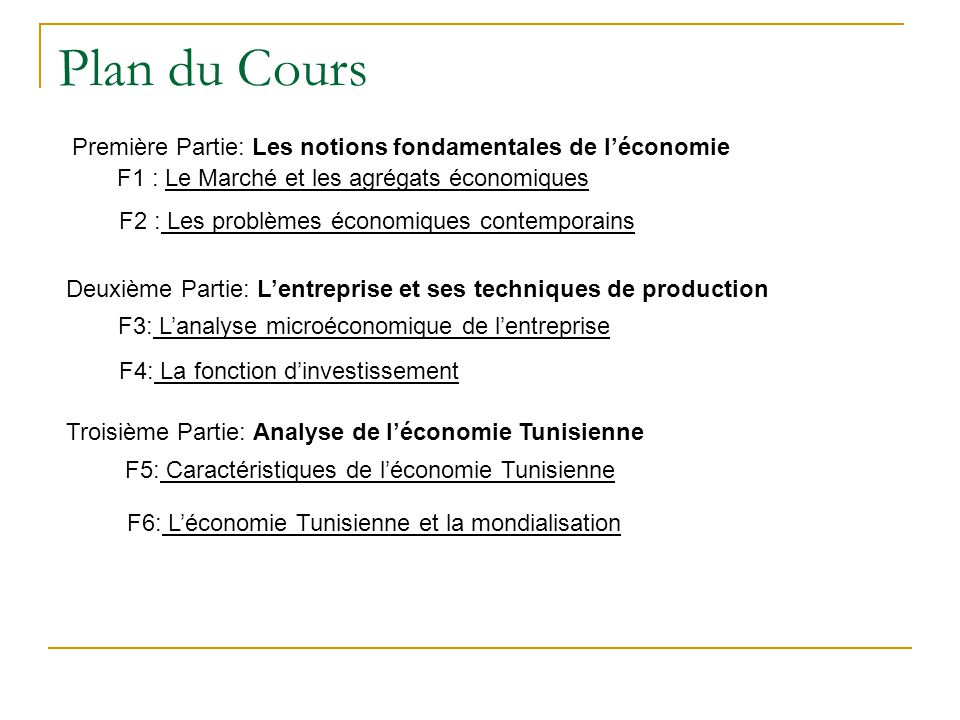 Plan du Cours Première Partie: Les notions fondamentales de l'économie