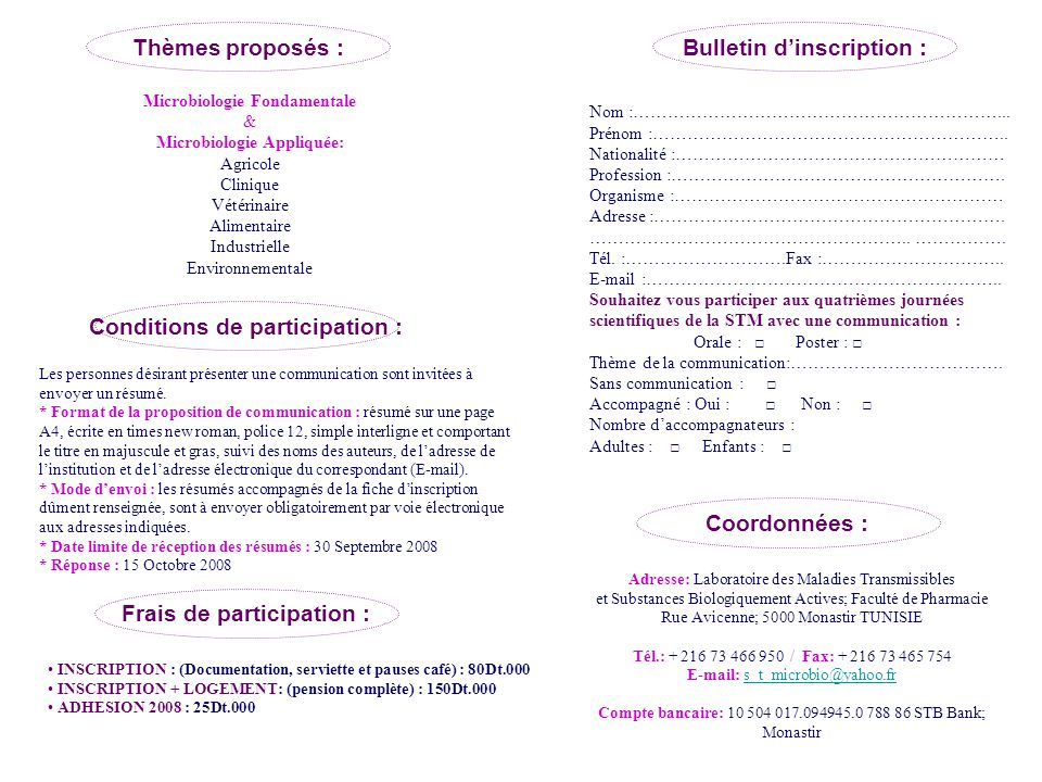 Thèmes proposés : Bulletin d'inscription :