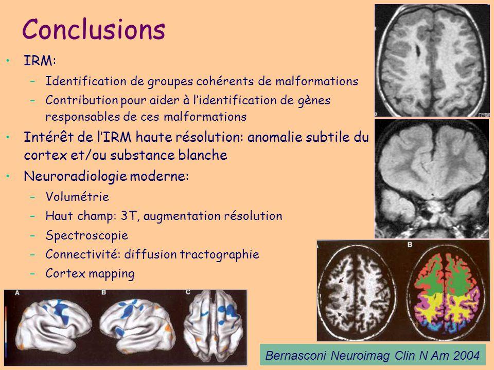 Conclusions IRM: Identification de groupes cohérents de malformations.