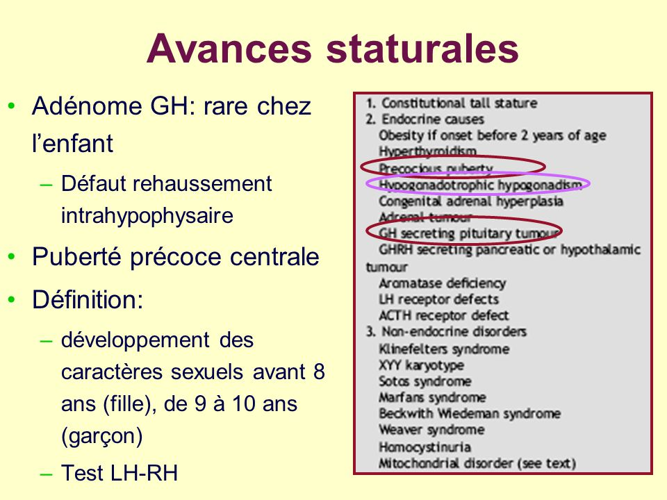 Avances staturales Adénome GH: rare chez l'enfant