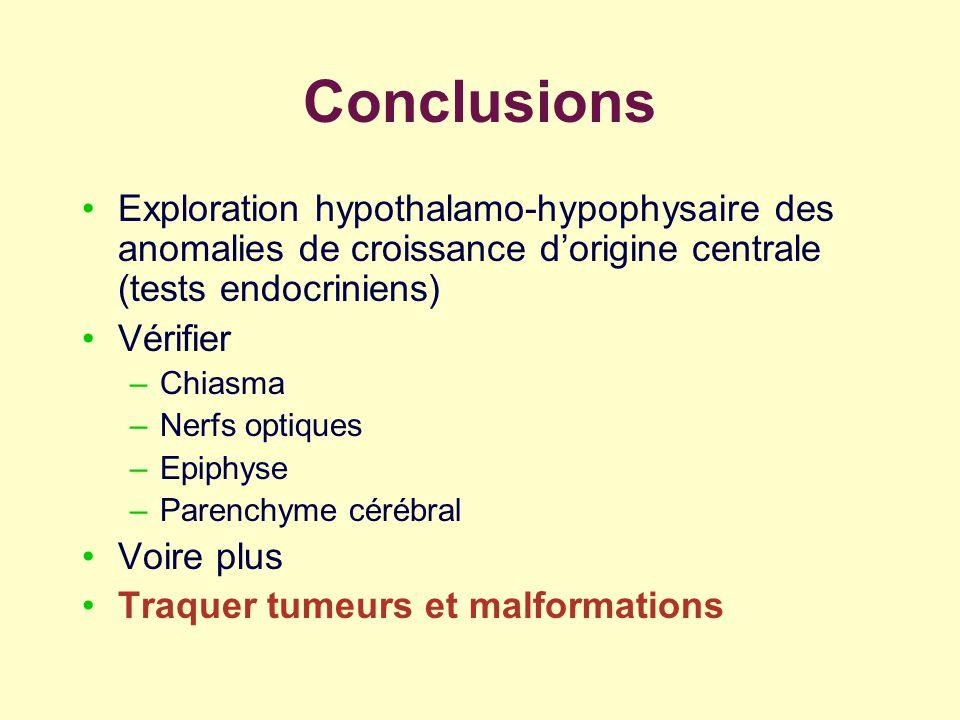 Conclusions Exploration hypothalamo-hypophysaire des anomalies de croissance d'origine centrale (tests endocriniens)