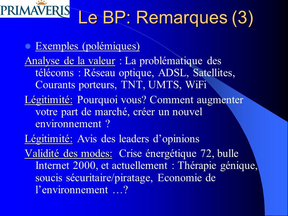 Le BP: Remarques (3) Exemples (polémiques)