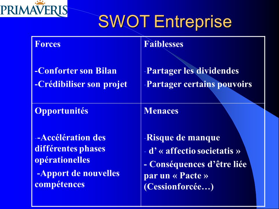 SWOT Entreprise Forces -Conforter son Bilan -Crédibiliser son projet