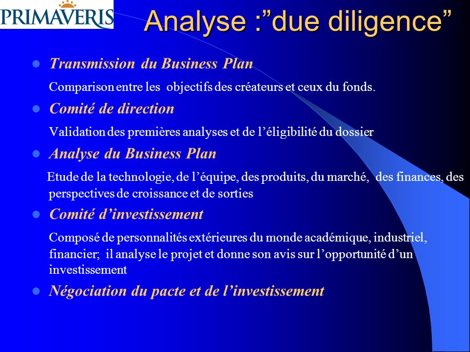 Analyse : due diligence