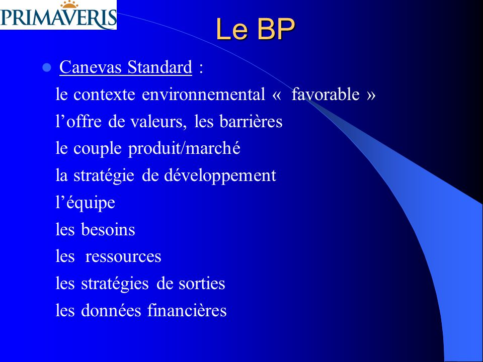 Le BP Canevas Standard : le contexte environnemental « favorable »
