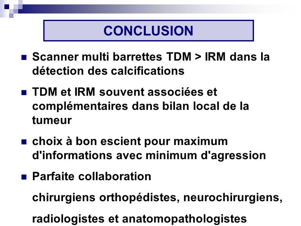 CONCLUSION Scanner multi barrettes TDM > IRM dans la détection des calcifications.