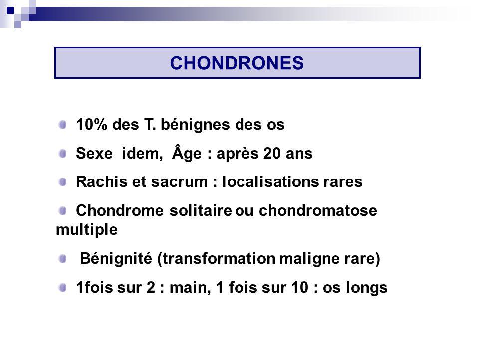 CHONDRONES 10% des T. bénignes des os Sexe idem, Âge : après 20 ans