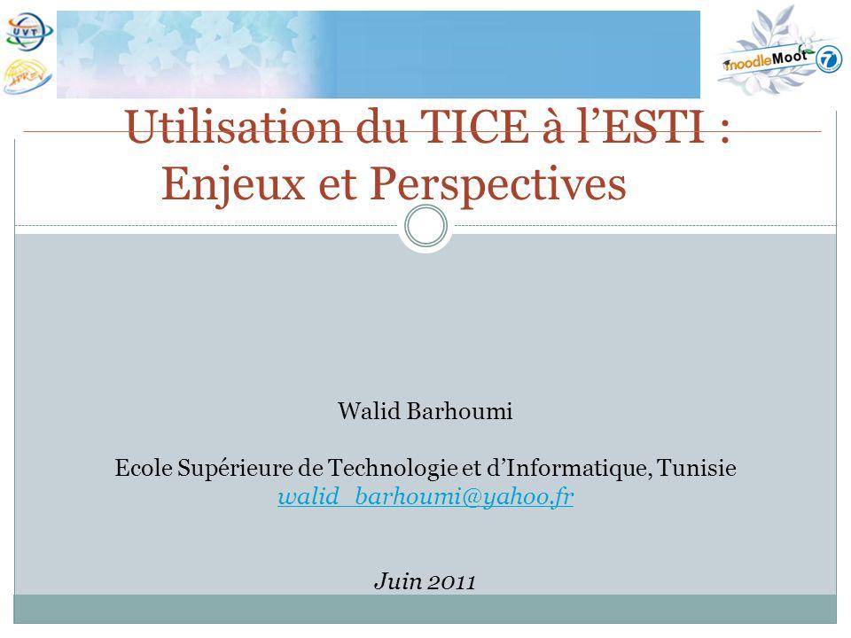 Utilisation du TICE à l'ESTI : Enjeux et Perspectives