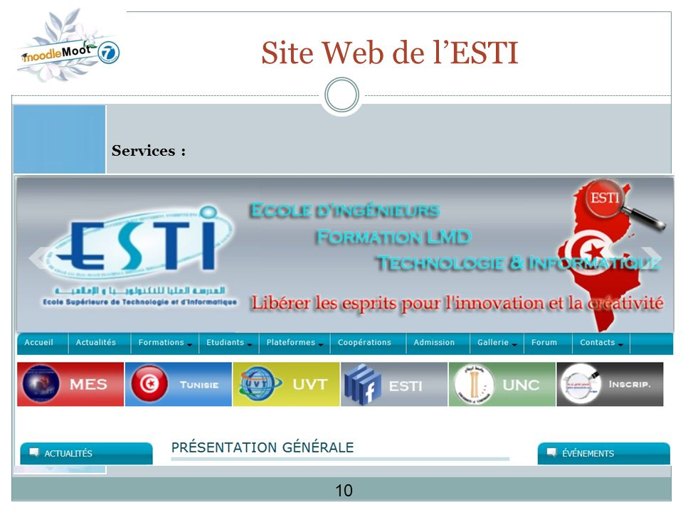 Site Web de l'ESTI Services : 10