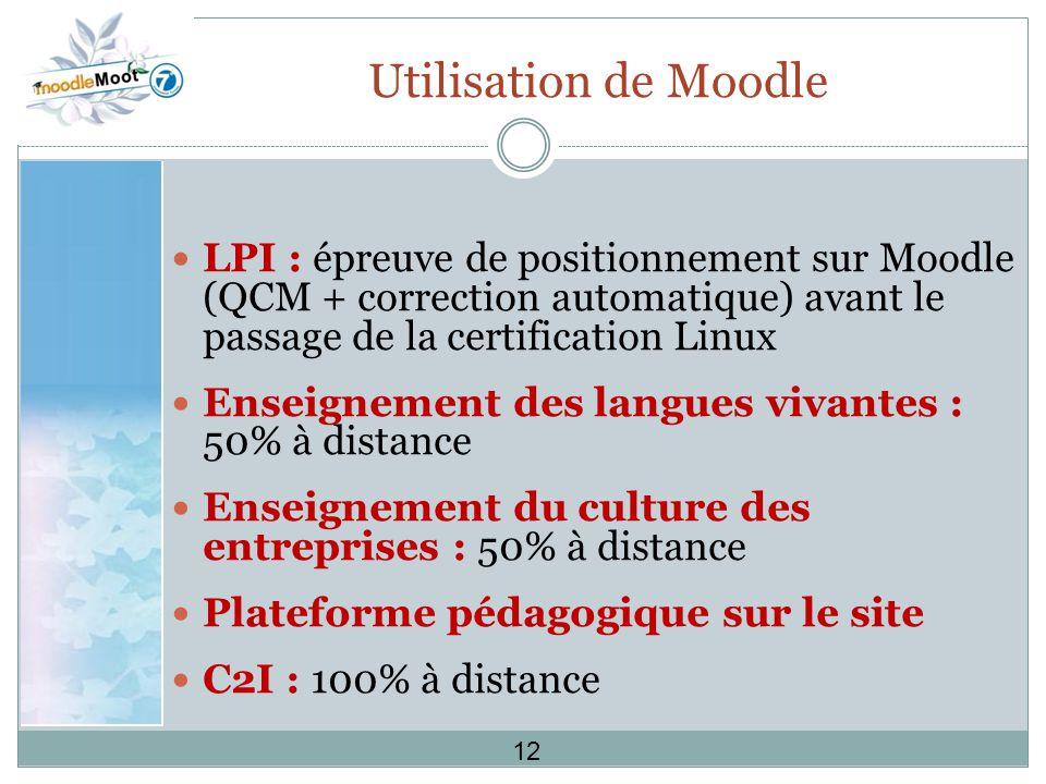 Utilisation de Moodle LPI : épreuve de positionnement sur Moodle (QCM + correction automatique) avant le passage de la certification Linux.